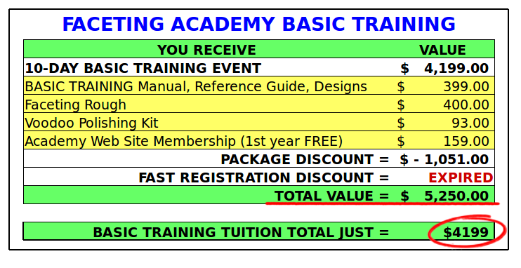 faceting academy basic training